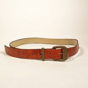 Vintage Tan Faux Leather Thin Belt